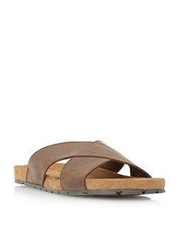 Idris suede crossover strap sandal