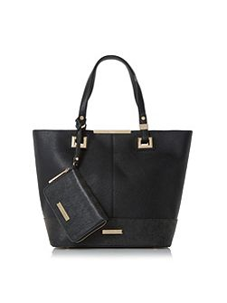 Denisha contrast base panel shopper bag