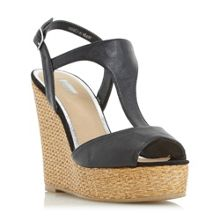 Linea Kelley bar raffia wedge sandals