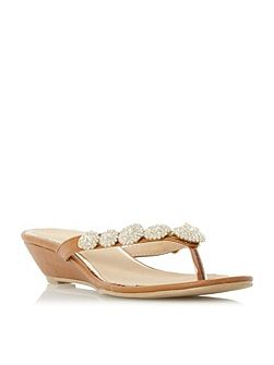 Krystal jewel toe post wedge sandals