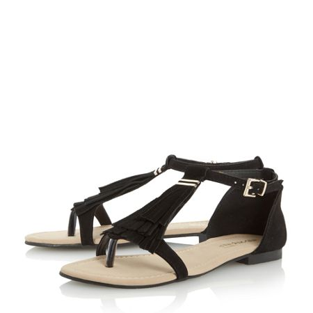 Head Over Heels Lailah fringe t bar sandals