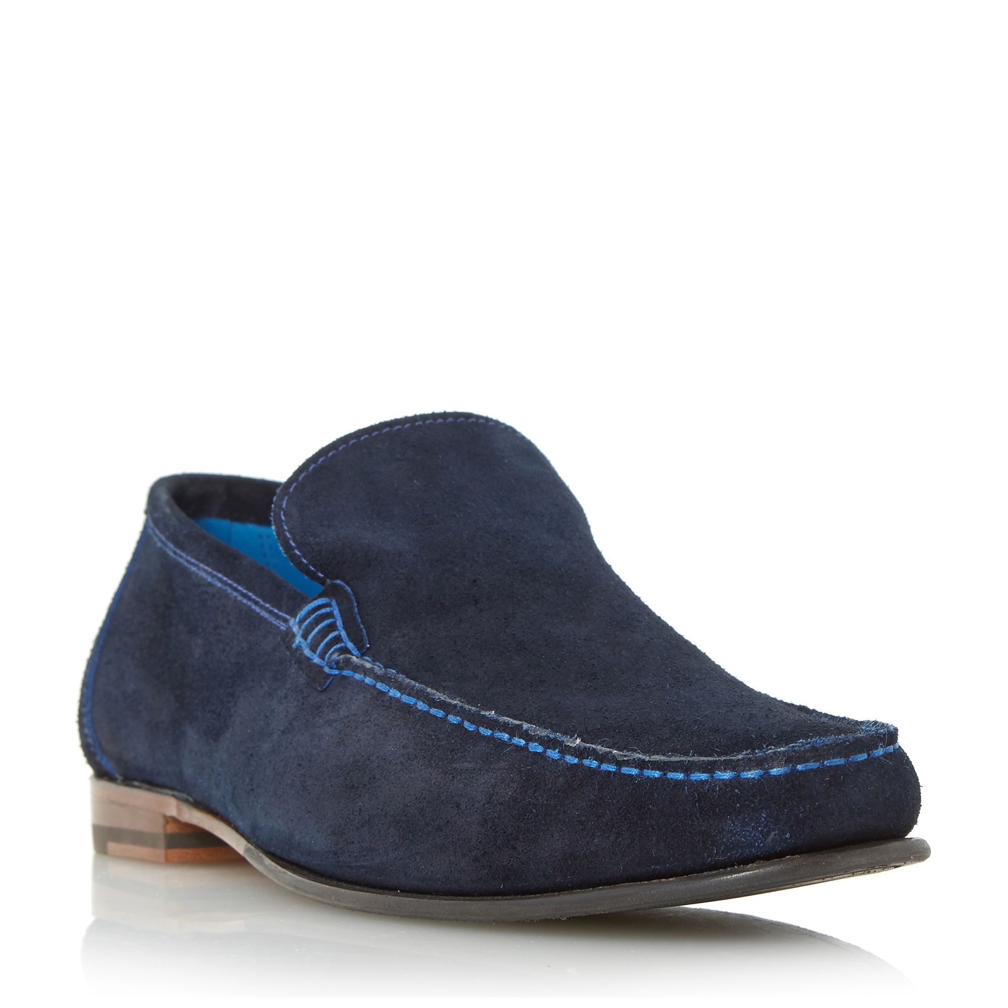 Loake Loake Nicholson contrast stitch suede loafers, Navy