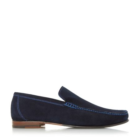 Loake Nicholson contrast stitch suede loafers