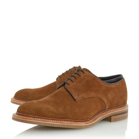 Loake Rowe suede round toe derby shoes