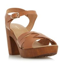 Dune Jani criss cross wooden block sandals