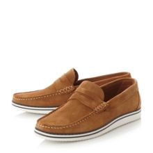 Dune Brightling Wedge Sole Suede Penny Loafer
