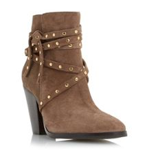 Dune Payten peridot studded strap ankle boots
