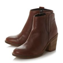 Dune Poppie rounded stacked heel ankle boots