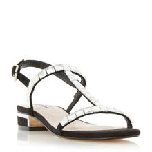Dune Nella square jewel strap flat sandals