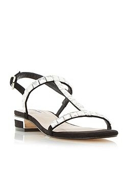 Nella square jewel strap flat sandals