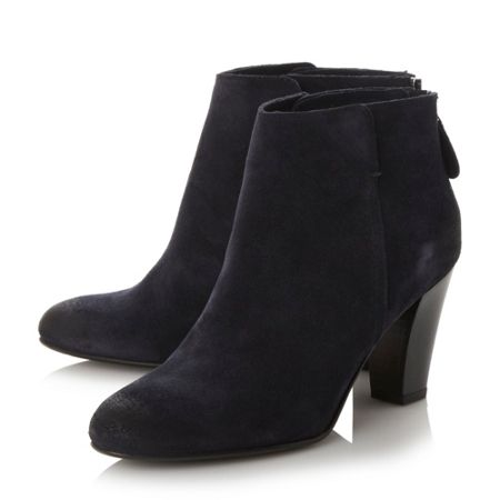 Dune Black Pharah back zip heeled ankle boots