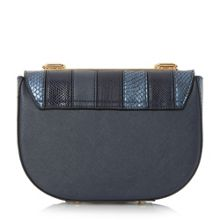 Ellen patchwork chain mini saddle bag
