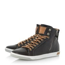 Dune Samwell side zip detail leather trainers