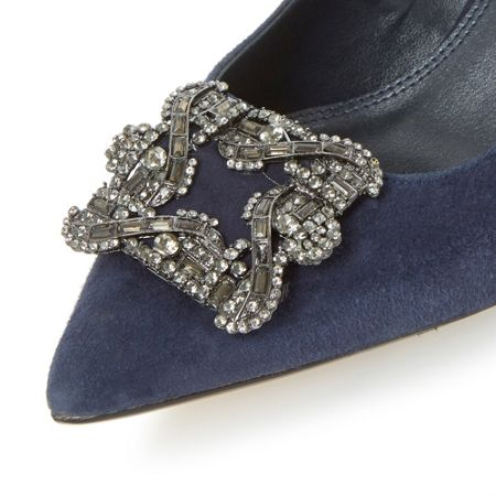 Dune Betti jewelled brooch detail mid heel