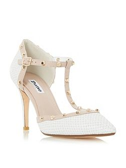 Cliopatra studded t bar court shoes