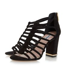 Dune Maybells metal plated block heel sandal