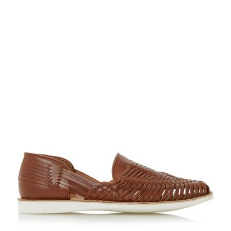 Bertie Broc white sole woven leather shoe