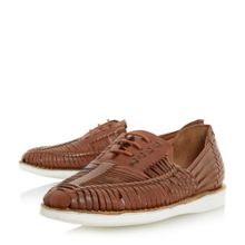 Bertie Bric white sole woven leather shoe