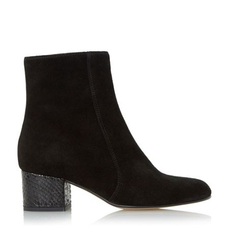 Dune Black Orro square toe suede ankle boots