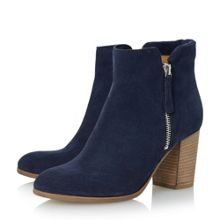 Dune Black Phollie side zip detail suede ankle boot