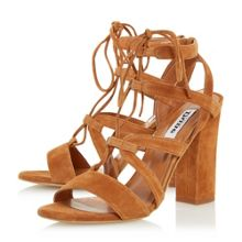 Dune Marlow ghillie lace block heel sandals