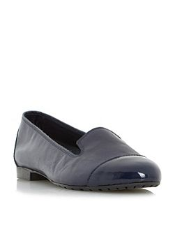 Genevieve patent toe cap slippers
