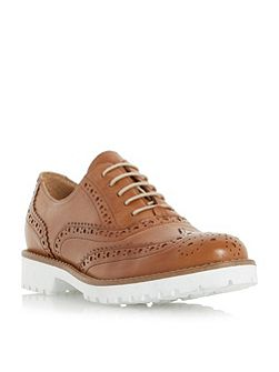 Fawna white cleated sole leather brogues