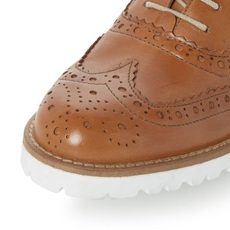 Dune Black Fawna white cleated sole leather brogues