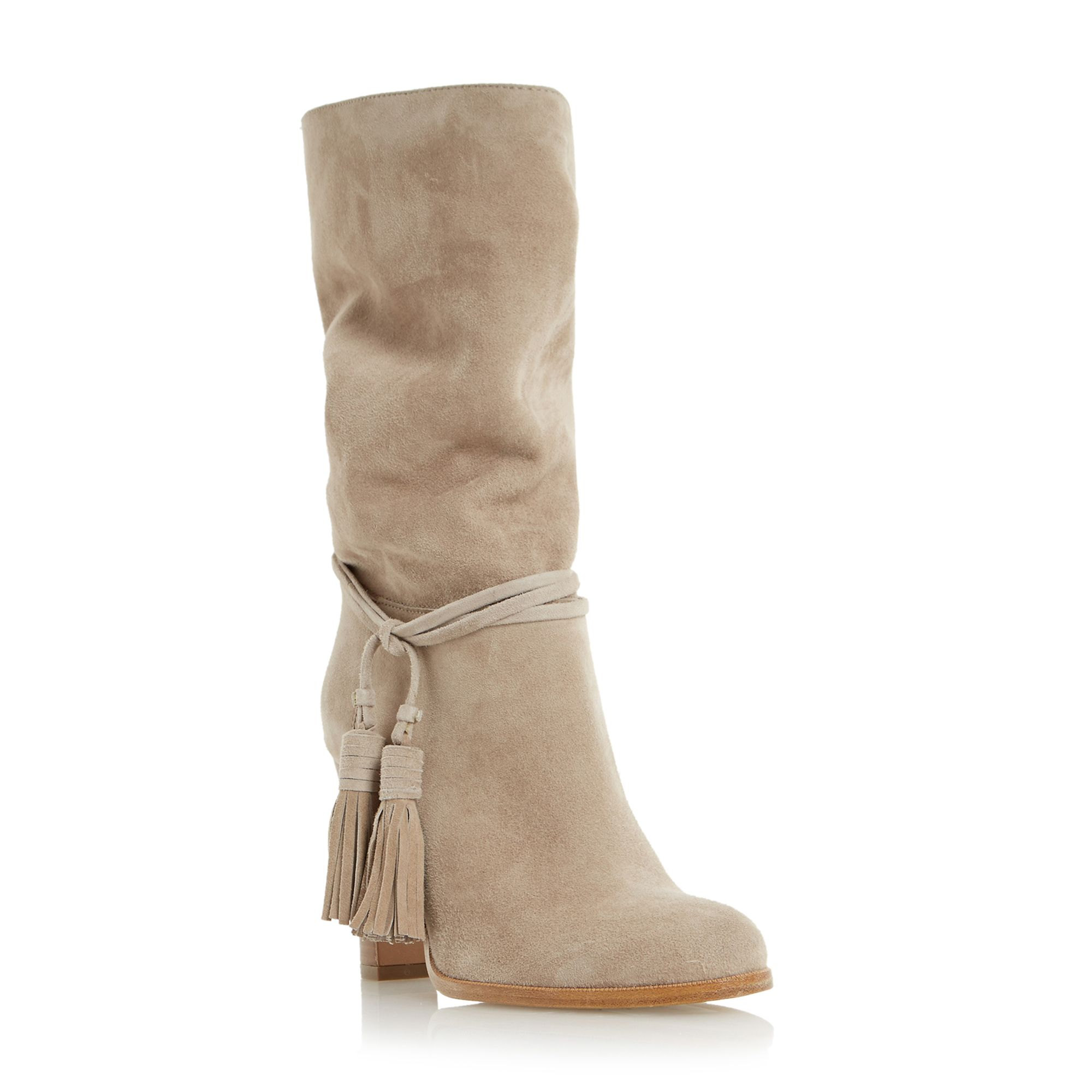 Dune Black Slouch tassel boots Taupe