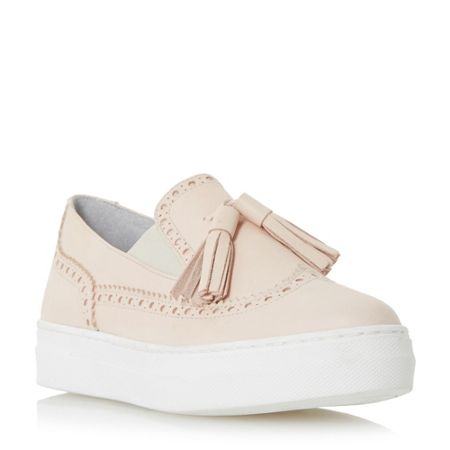 Dune Black Ebby tassle white outersole loafers