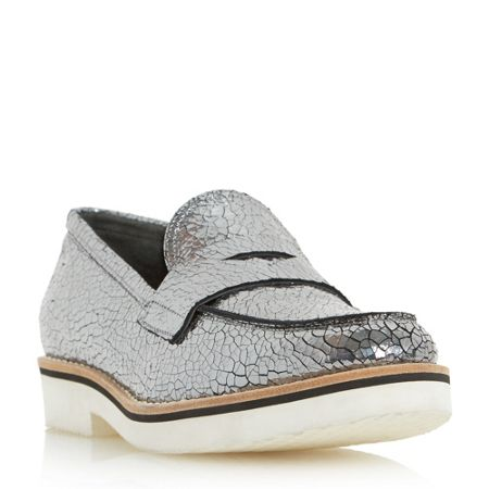 Dune Black Gienna white sole penny saddle loafers