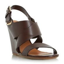 Dune Black Kylar cross strap wedge sandals