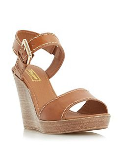 Kamella stab stitch wedge shoes