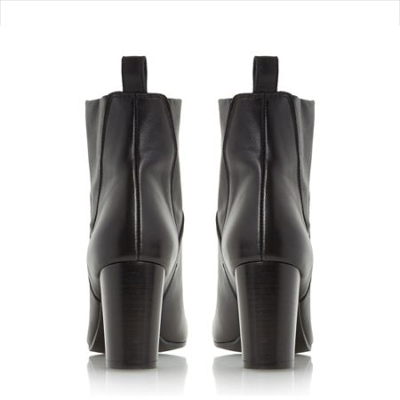 Dune Black Powa- stretch leather heeled ankle boots