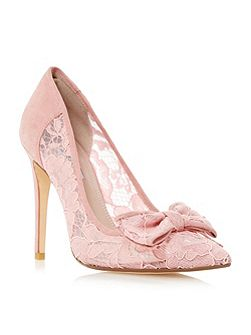 Bodine lace bow high heel court shoes