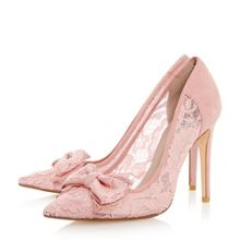 Dune Bodine lace bow high heel court shoes