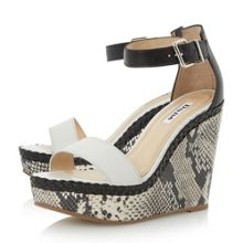 Dune Kandy reptile print wedge sandals