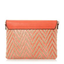 Dune Enid raffia mix envelope clutch bag