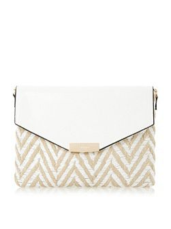 Enid raffia mix envelope clutch bag