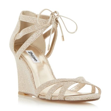 Dune Madge ghillie lace wedge sandals