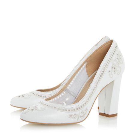Dune Bethanee embroidered court shoes