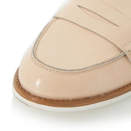 Dune Gleam white sole penny loafers