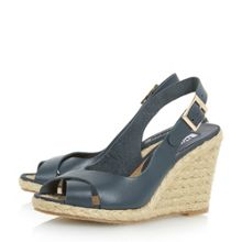 Dune Kia sling back cross strap wedge sandals