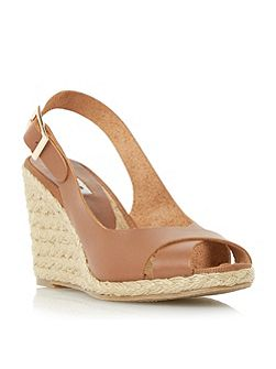 Kia sling back cross strap wedge sandals