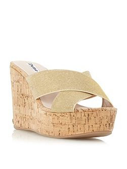 Karmen cross strap mule wedge sandals