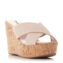 Dune Karmen cross strap mule wedge sandals