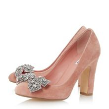 Dune Bambi bejewelled bow detail court shoes