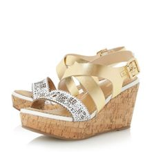 Dune Katness laser cut strap wedge sandals