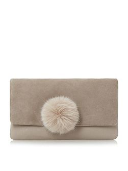Epommy pom pom flap over clutch bag