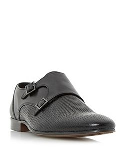 Raisin woven embossed buckle monk shoe